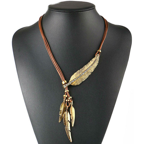 Spirit Alloy Feather Necklace