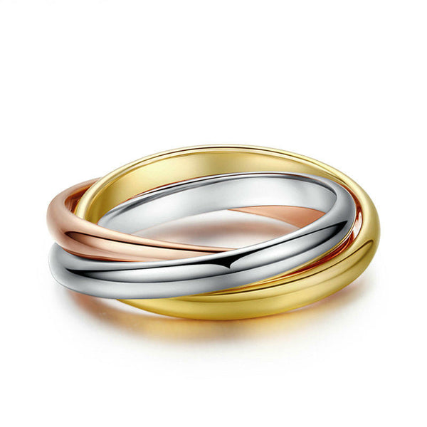 Interlocked 3-Hoop Ring in Rose, Yellow, & White Gold