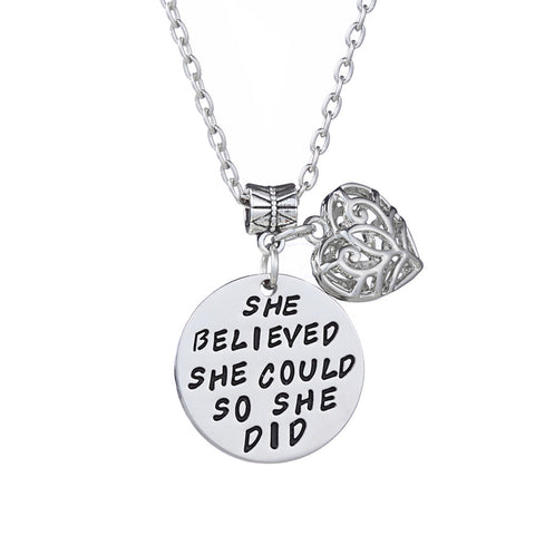 Double Pendant Oval and Heart Stamped Hand Necklace