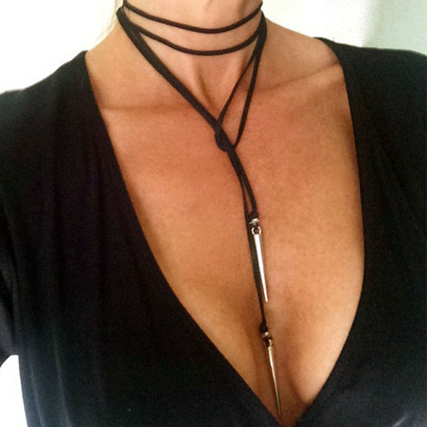Leather Dangling Spikes Pendant Necklace