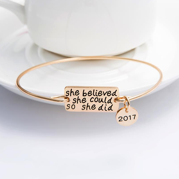 """She Believed She Could So She Did"" Bangle Bracelet"