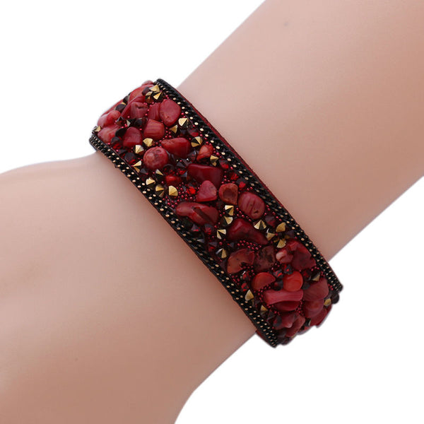 Stone Mosaic Leather Bracelet