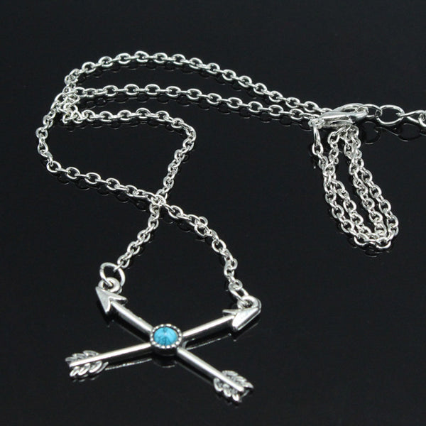 Crossed Double Arrows of Love Necklace