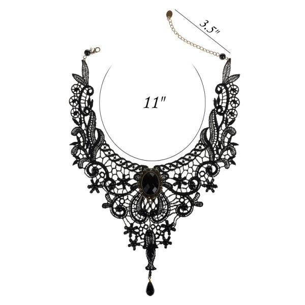 Black Vintage  Intricate Gem Necklace