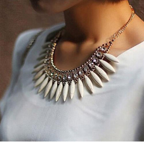 Crystal and Stone Beaded Collar Necklace