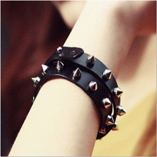 Spiked Leather Bangle Bracelet