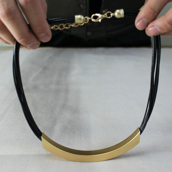 Leather Necklace with Gold Band