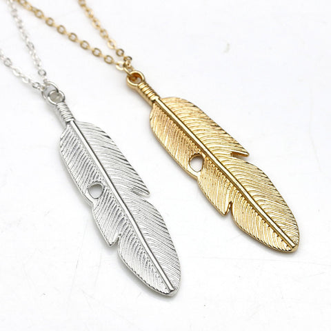 Hot Bohemian Retro Feather Infinity Necklace