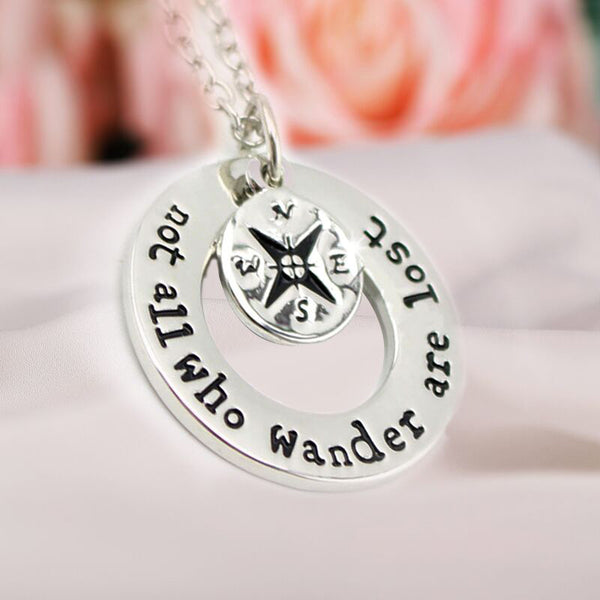 "Hand Stamped Jewelry Travelers Necklace Wanderlust "" Not All Who Wander Are Lost"" Inspirational Jewelry"