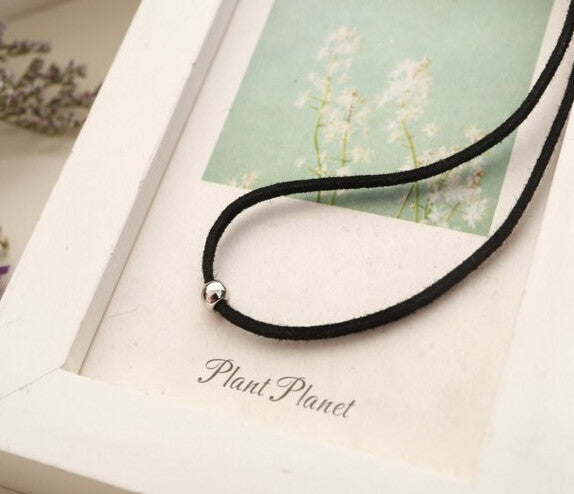Thin Black Bead Necklace