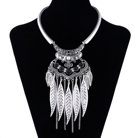 Vintage Feather Statement Necklace