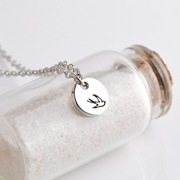 Round Oval Handstamped Bird Two-piece Pendant Necklace