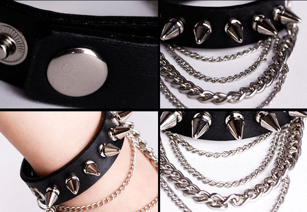 Spiked Leather Bracelet with Chains