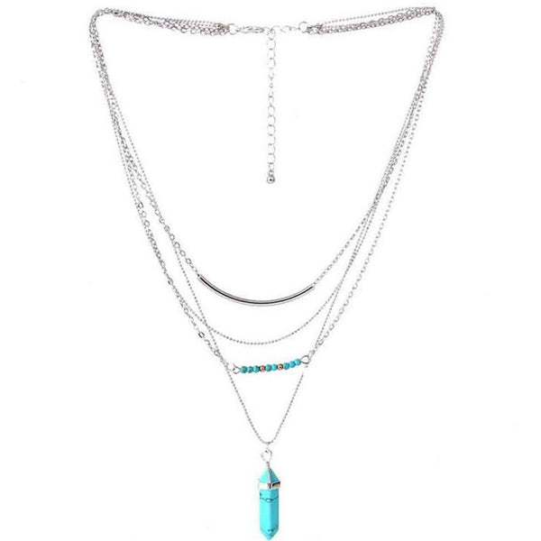 Bohemian 4-Layer Silver and Turquoise Necklace