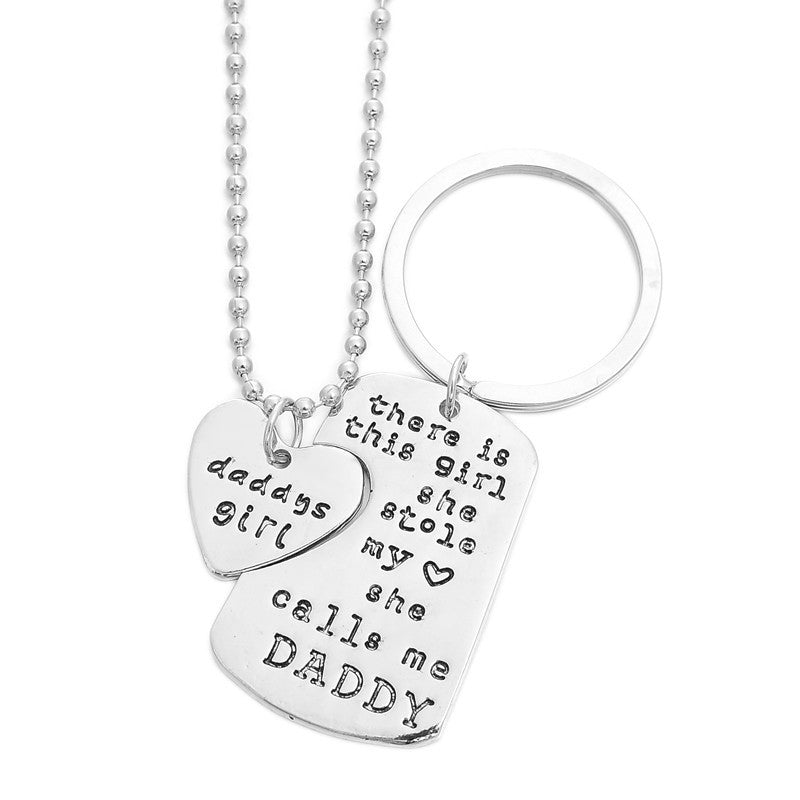 Daddy's Girl Quoted Necklace with Key Chain Set