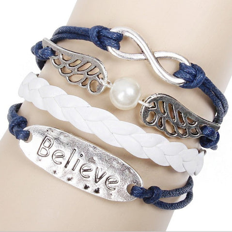 """Believe"" leather bracelet with infinity charm"
