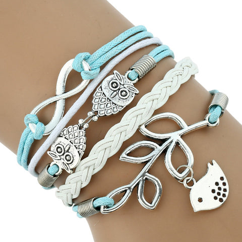 Aqua Blue Owl and Bird Bracelet