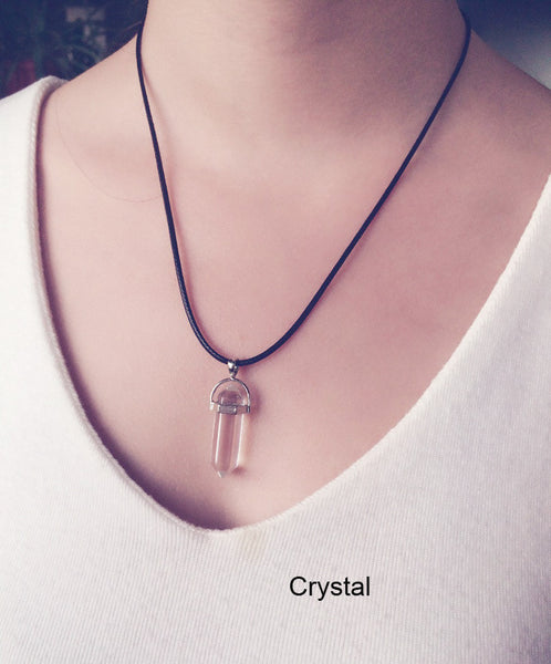 Multi Color Quartz Crystal Pendant Necklace