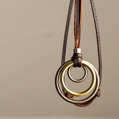 Vintage Three-Hoop Leather Necklace