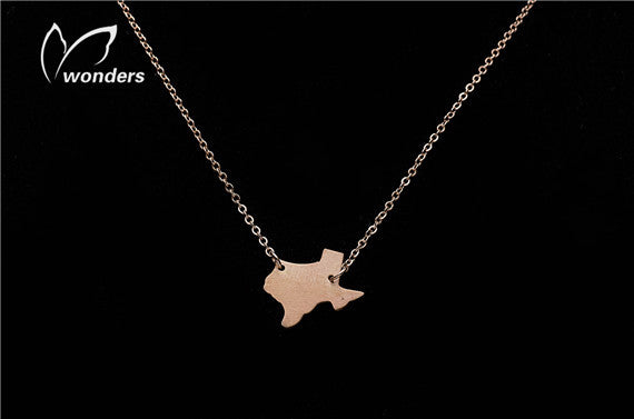 Stainless Steel Vintage Texas State Pendant Necklace