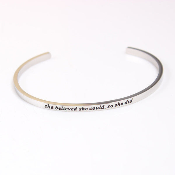 """She believed she could so she did"" Inspirational Message Bracelet"