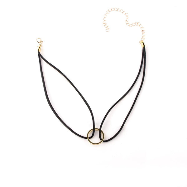 Velvet Necklace with Hoop Ring Pendant