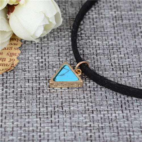Black Leather Velvet Necklace with Triangle Gem Pendant
