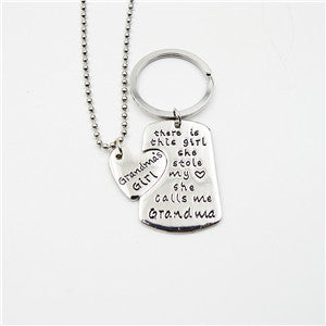 Grandma's Girl Quoted Necklace and Key Chain Set