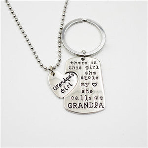 Grandpa's Girl Quoted Necklace and Key Chain Set