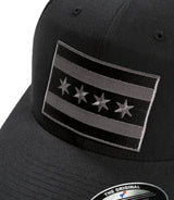 "Monochrome Chicago Flag with ""F"" Logo - Flexfit Hat"