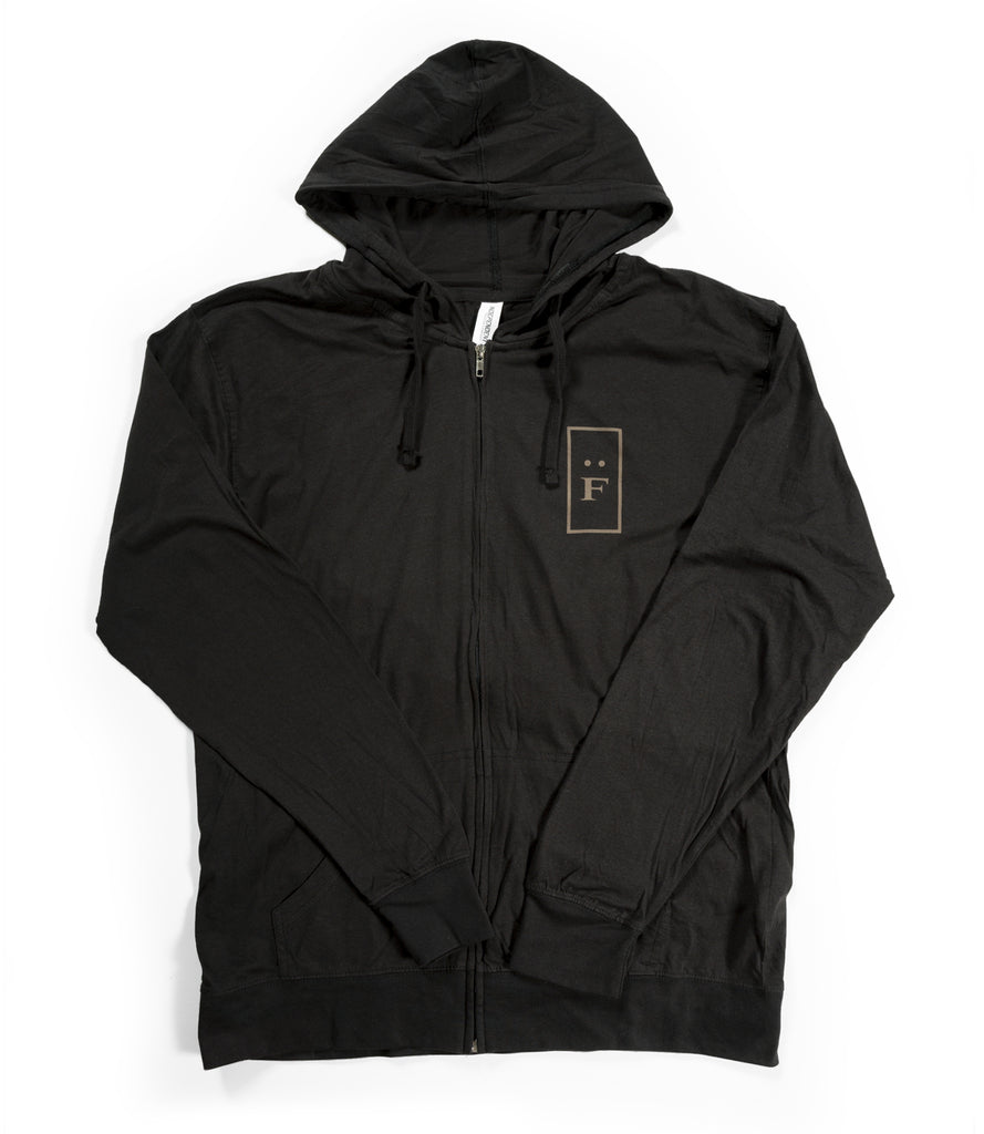 """F"" LOGO ZIP-UP HOODIE – BLACK"