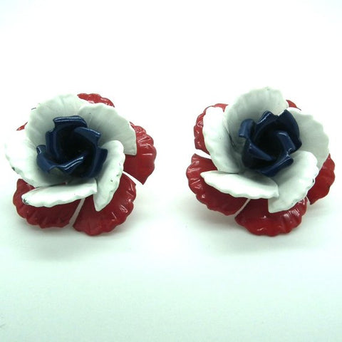 vintage enamel clip on earrings