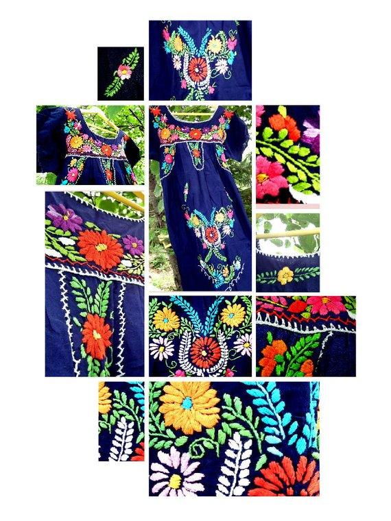 mexican floral embroidered dress