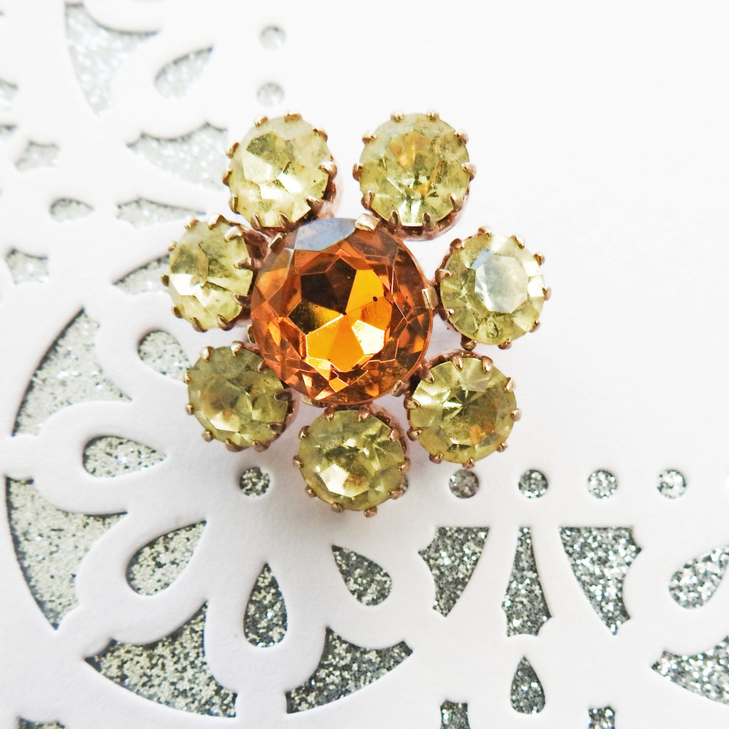 Small crystal brooch, sparkly brooches for women, antique glass flower pin, bohemian retro vintage jewellery, glamorous elegant jewel - zazaofcanada