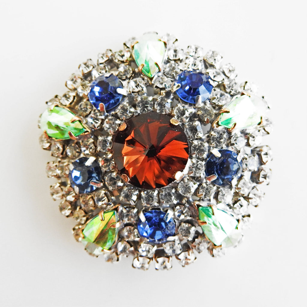 Vintage multi colored rhinestone brooch - zazaofcanada