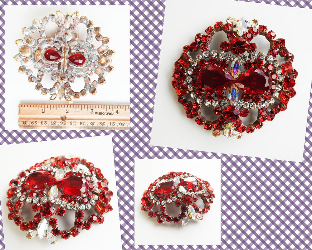 Red large brooch vintage jewelry 1950, oversized brooch jewellery christmas gift for women rhinestone her unique czech crystal glass massive - zazaofcanada
