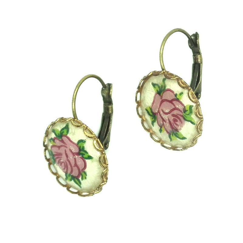 Vintage rose earrings - zazaofcanada