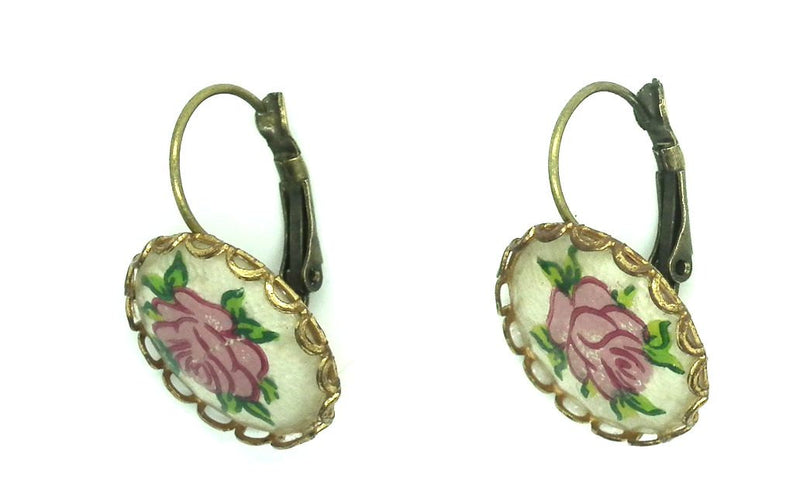 vintage rose pierced earrings