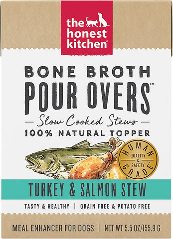 The Honest Kitchen Bone Broth POUR OVERS Turkey & Salmon Stew Wet Dog Food Topper