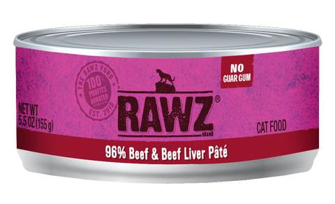 Rawz 96% Beef and Beef Liver Pate Canned Food 5.5oz