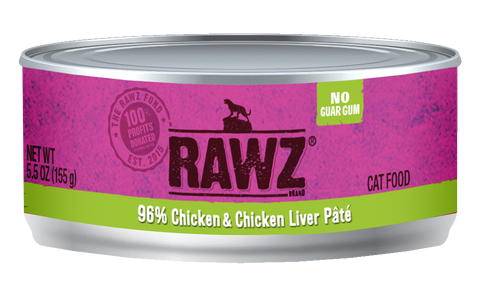 Rawz 96% Chicken and Chicken Liver Pate Canned Food 5.5oz