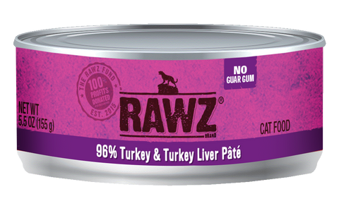 Rawz 96% Turkey and Turkey Liver Pate Canned Food 5.5oz