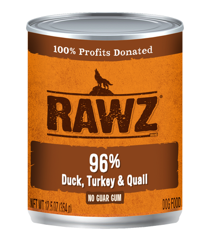 Rawz 96% Duck, Turkey and Quail Canned Food 12.5oz