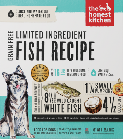 Grain Free Limited Ingredient Fish Recipe Dehydrated Dog Food 4 lb Box