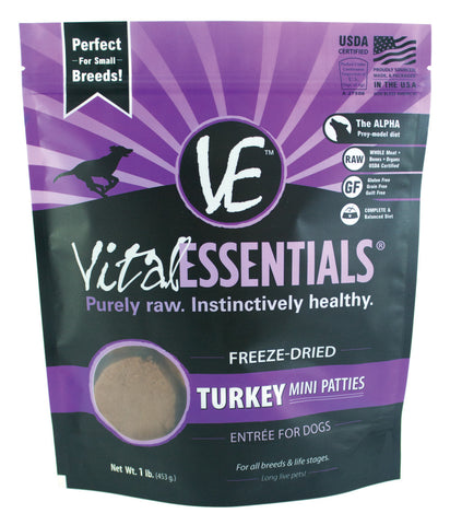 Vital Essentials Freeze-Dried Mini Turkey Patties