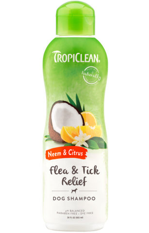 TropiClean Neem & Citrus Flea & Tick Relief Shampoo for Dogs, 20oz