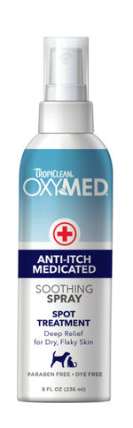 TropiClean OxyMed Medicated Anti itch Spray for Pets, 8oz
