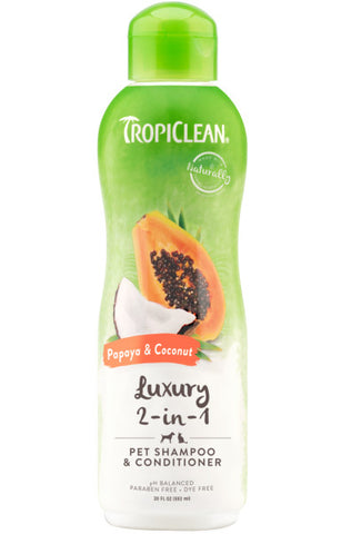 TropiClean Papaya & Coconut Luxury 2-in-1 Shampoo and Conditioner for Pets, 20oz