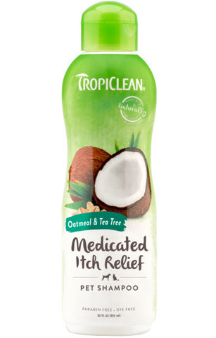 TropiClean Oatmeal & Tea Tree Medicated Itch Relief Shampoo for Pets, 20oz