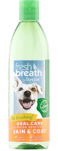 Fresh Breath by TropiClean Oral Care Water Additive Plus Skin & Coat for Pets